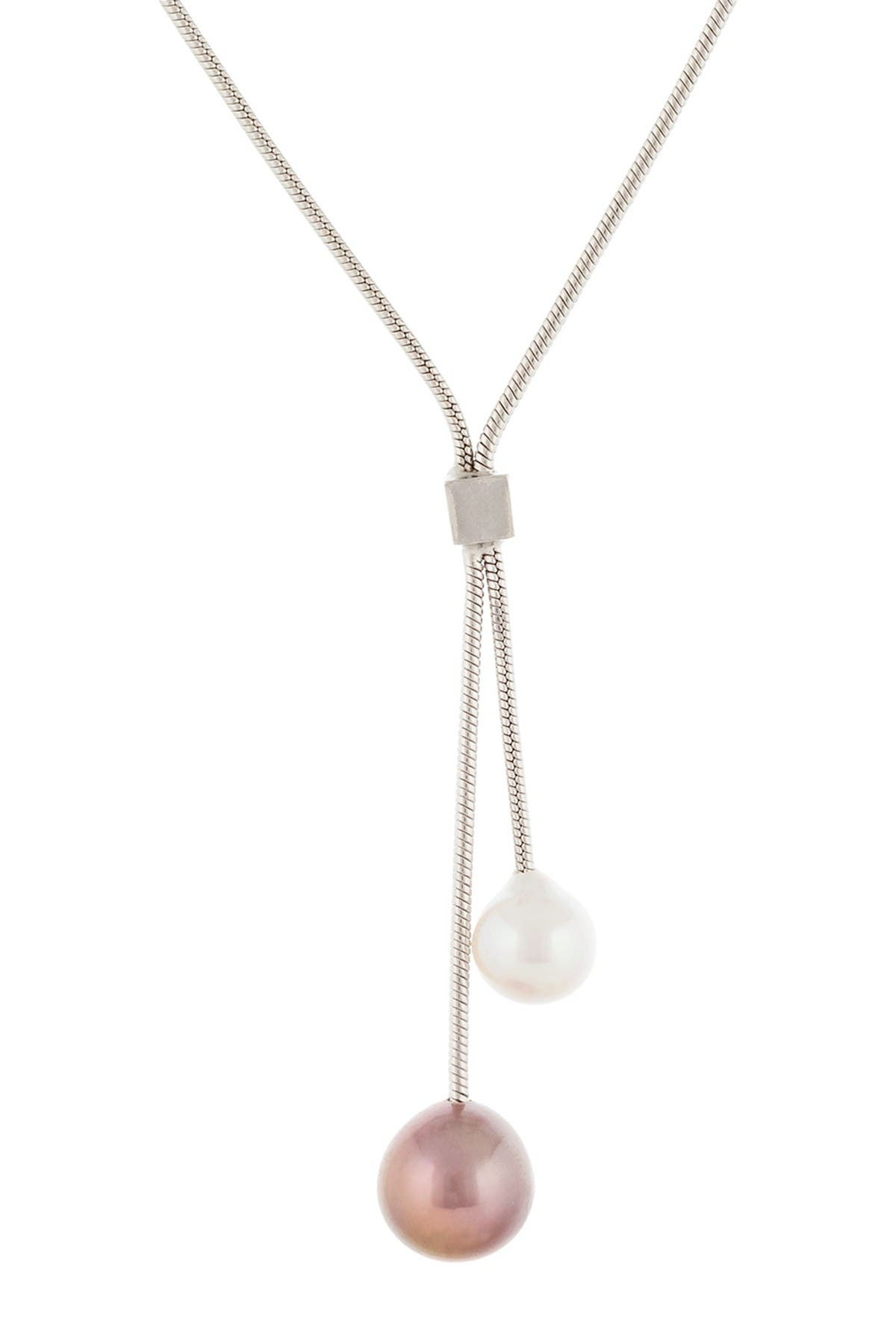 Image of Splendid Pearls Sterling Silver 9-10mm Fancy Multicolored Cultured Freshwater Pearl Dangle Necklace