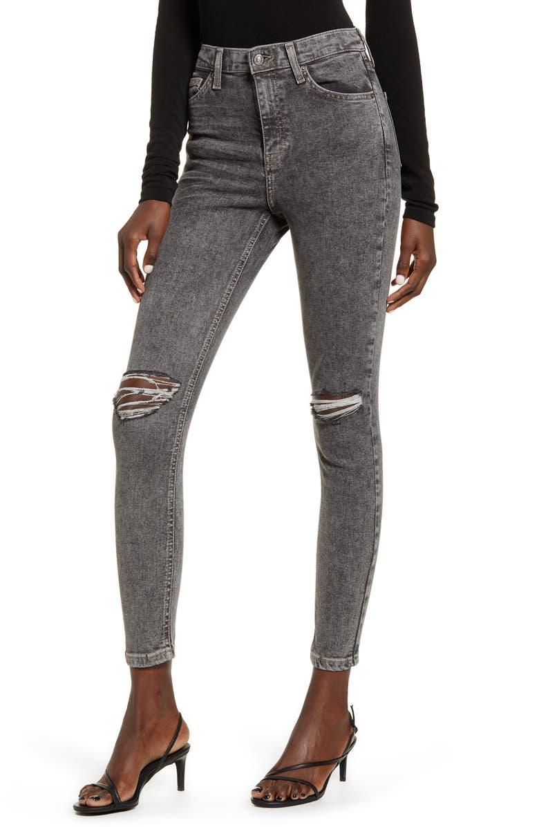 TOPSHOP Ripped Acid Wash Ankle Skinny Jeans, Main, color, BLACK