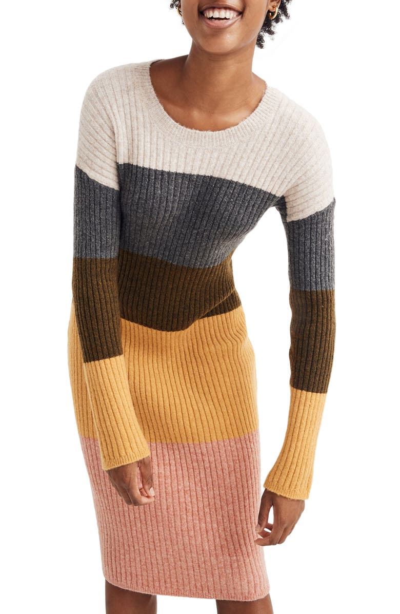 MADEWELL Colorblock Long Sleeve Sweater Dress, Main, color, HEATHER VANILLA