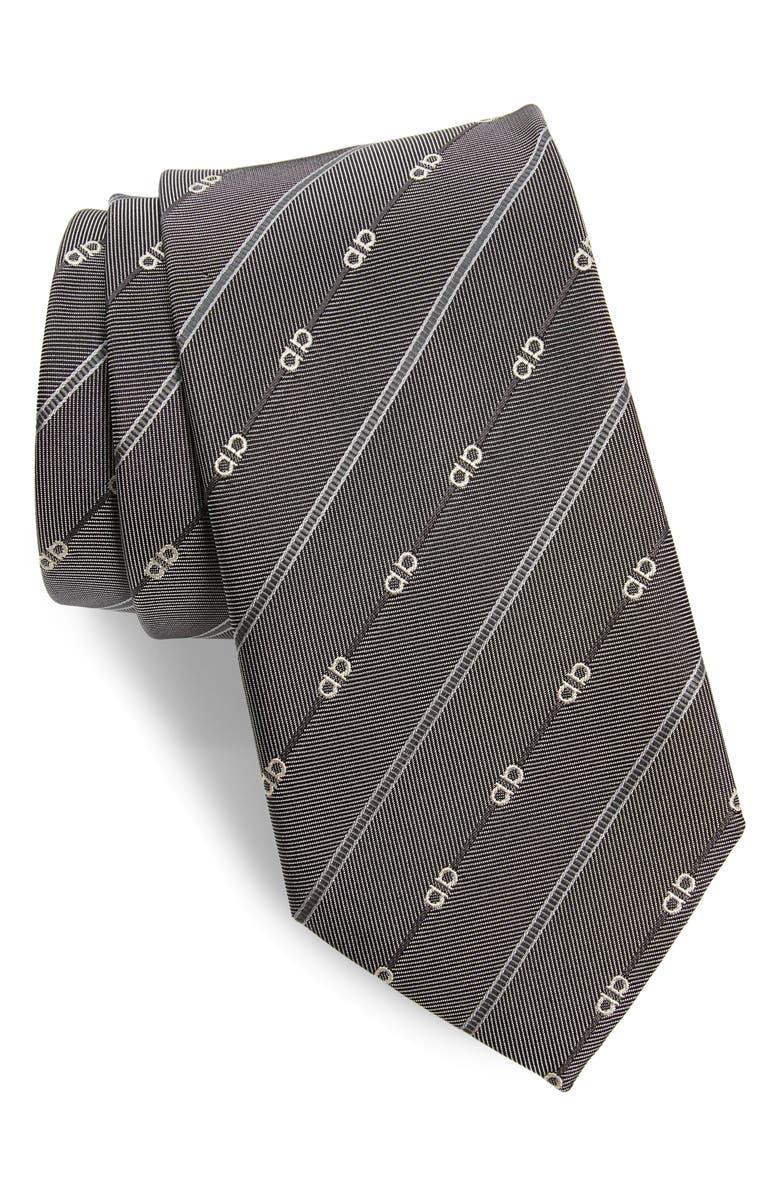 SALVATORE FERRAGAMO Gancini Stripe Silk Tie, Main, color, F.GREY