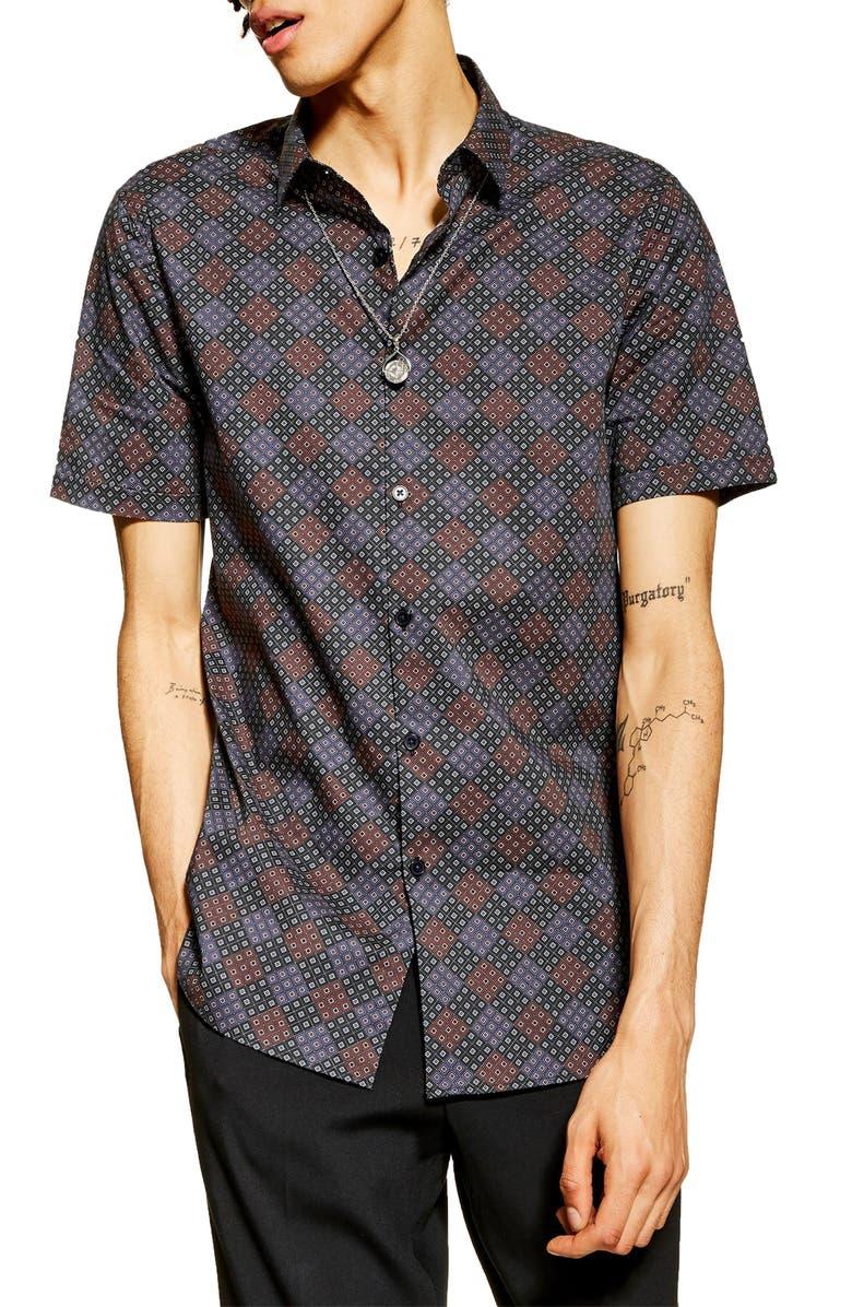 TOPMAN Stretch Skinny Fit Print Shirt, Main, color, 930