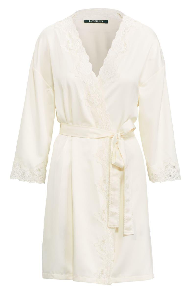 LAUREN RALPH LAUREN Lace Trim Satin Robe, Main, color, IVORY