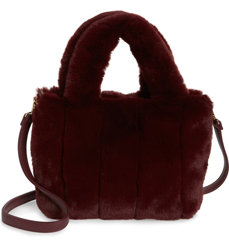 BP. Faux Fur Bucket Bag, Main, color, BURGUNDY BERRY