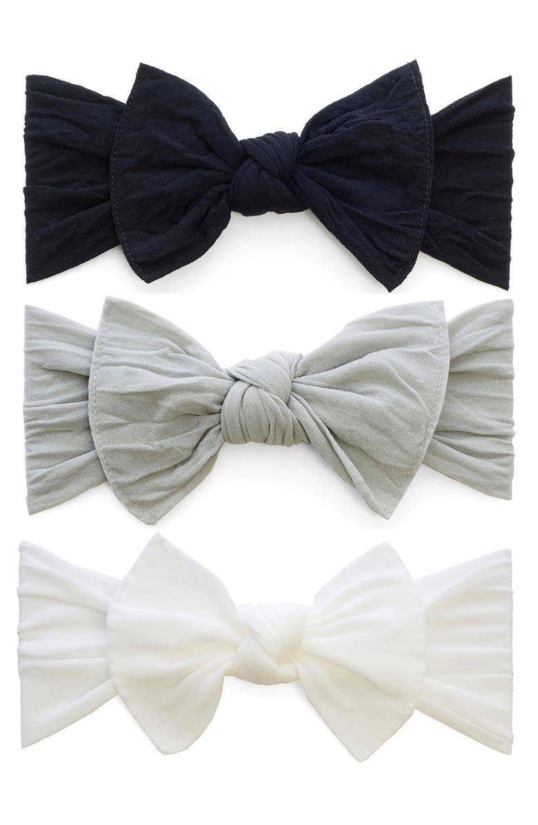 BABY BLING Bow Stretch Headband, Main, color, BLACK/ GREY/ WHITE