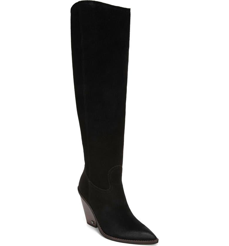SAM EDELMAN Indigo Pointed Toe Knee High Boot, Main, color, BLACK SUEDE
