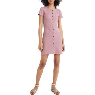 Plus Size Madewell Ribbed Button Front Minidress, Pink