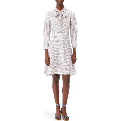 Tailored By Rebecca Taylor Long Sleeve Stripe Dress, Ivory