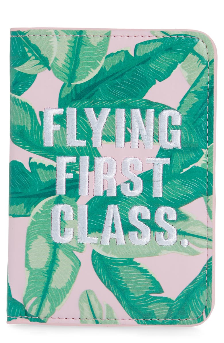 SKINNYDIP Flying First Class Banana Palm Print Passport Holder, Main, color, GREEN MULTI