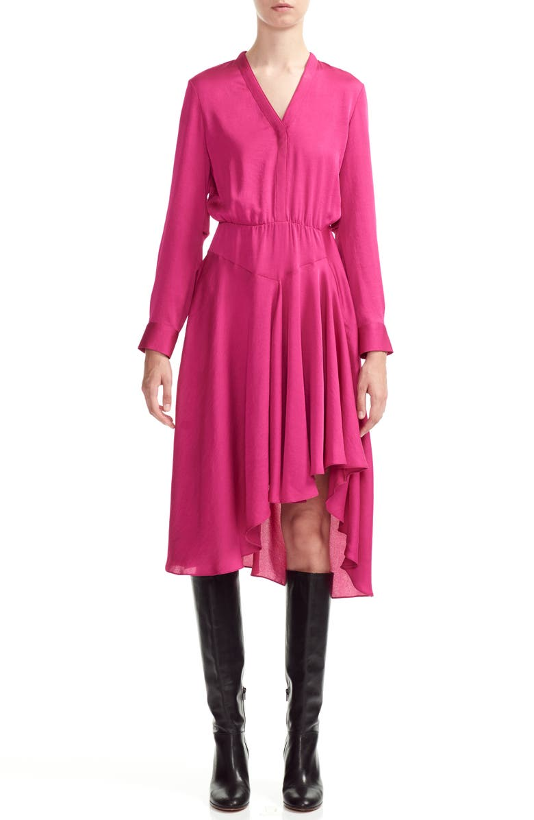 MAJE Rushia High/Low Dress, Main, color, FUCHSIA