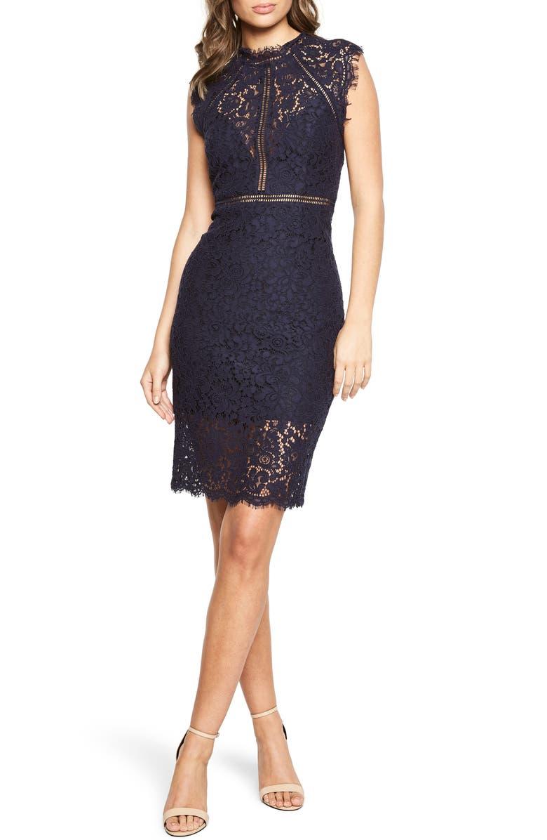 BARDOT Lace Sheath Cocktail Dress, Main, color, NAVY