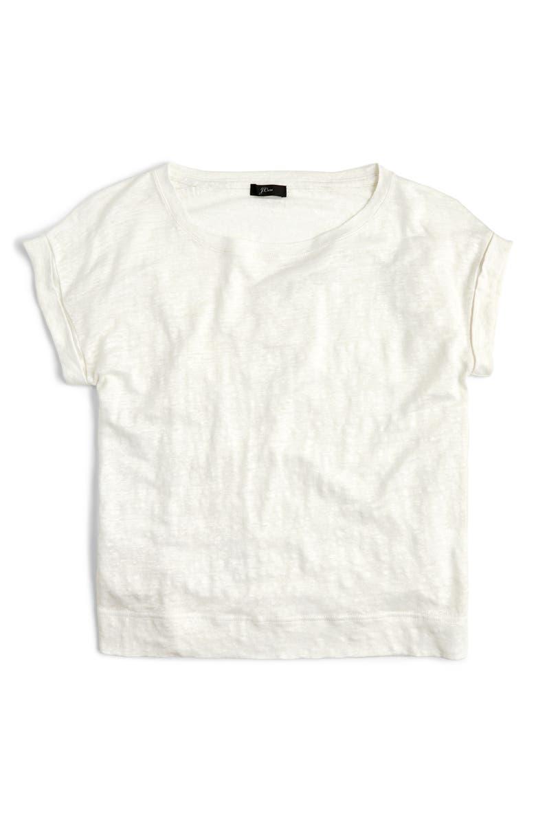 J.CREW Roll-Cuff Linen Tee, Main, color, WHITE