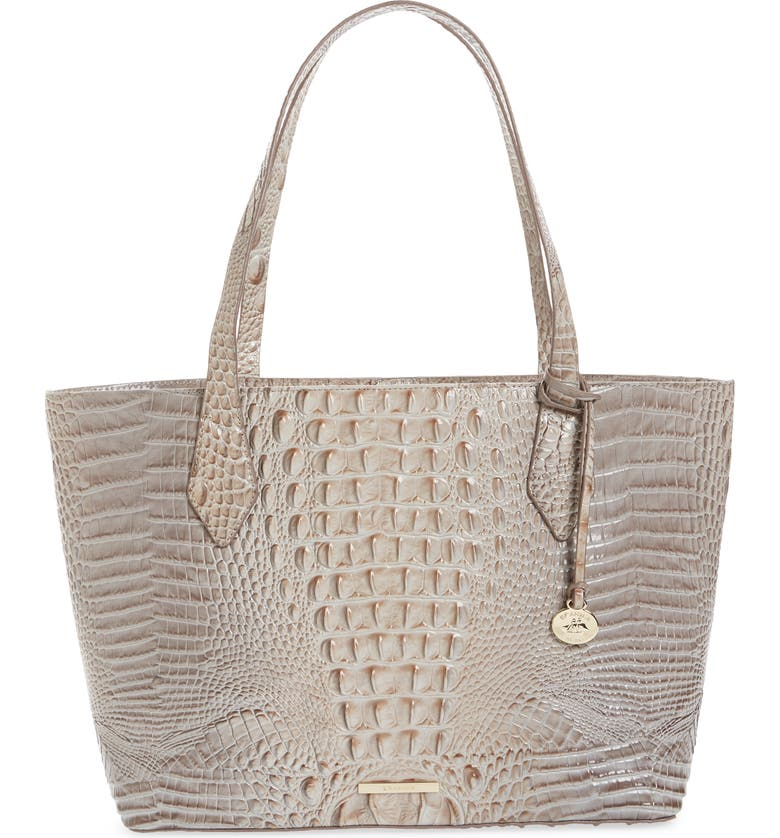 BRAHMIN Athen Croc-Embossed Leather Tote, Main, color, HARBOR