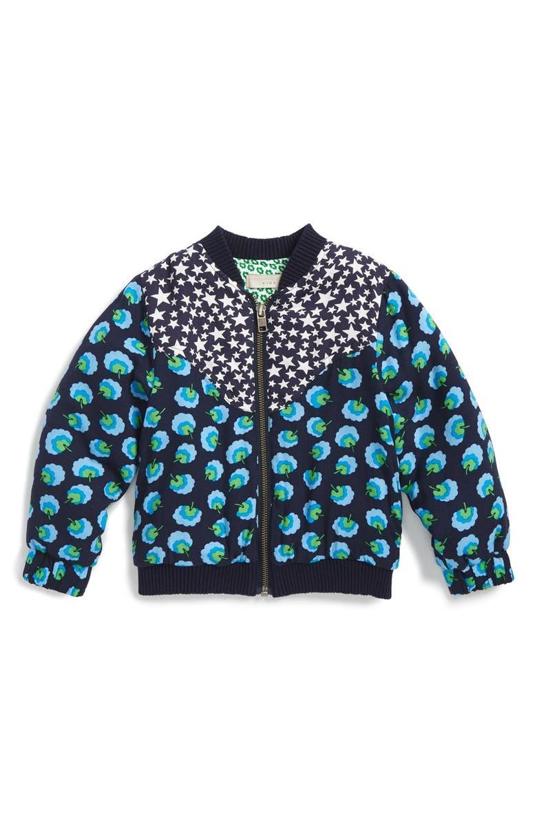 STELLA MCCARTNEY KIDS 'Maple' Pompom Print Bomber Jacket, Main, color, 411