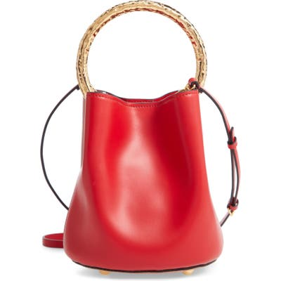 Marni Two-Tone Leather Hammered Top Handle Bag - Red