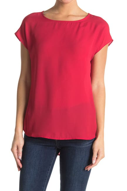 Image of Pleione Solid Cap Sleeve High/Low Top