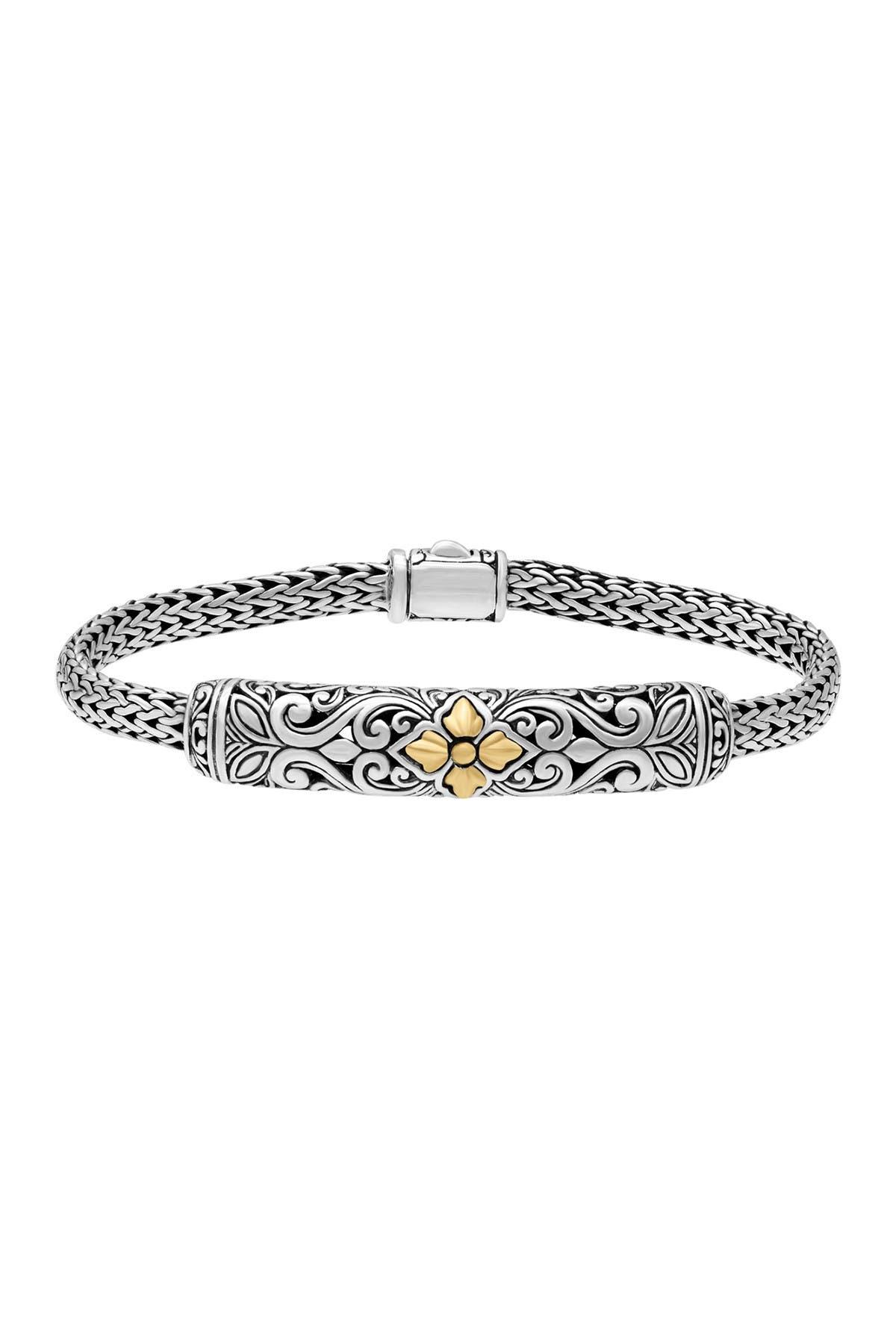 Image of DEVATA 18K Gold & Sterling Silver Bali Filigree Dragon Bone Oval Chain Bracelet