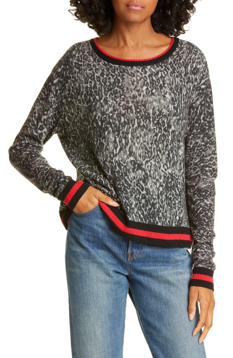 AUTUMN CASHMERE Sporty Leopard Spot Cashmere Sweater, Main, color, 001