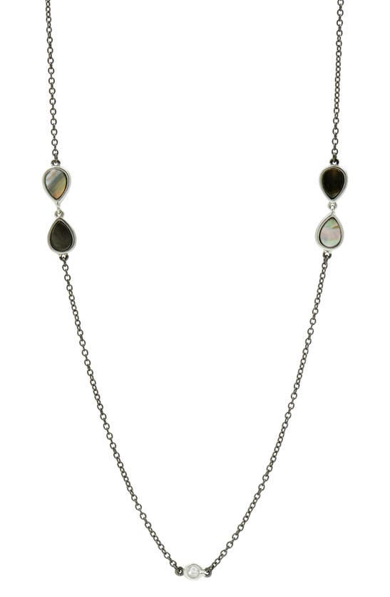 Freida Rothman Grey Mother-of-pearl Long Station Necklace In Silver/ Black