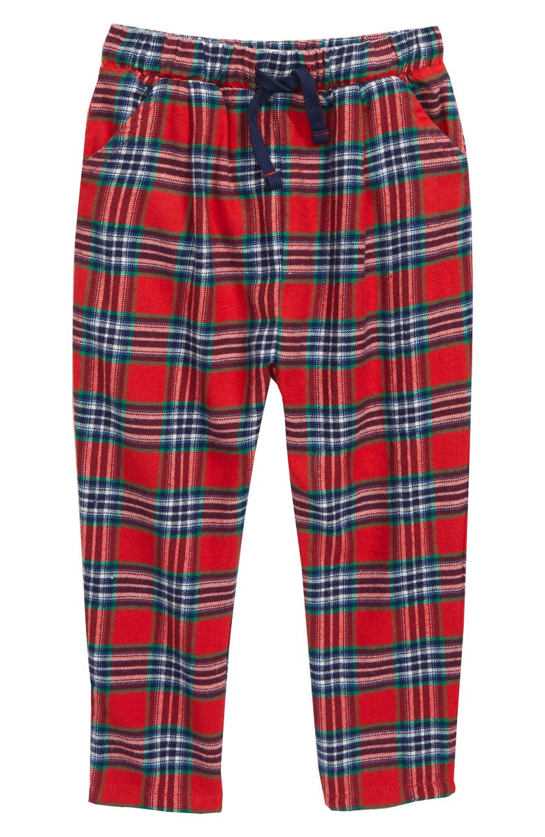 MINI BODEN Woven Check Pants, Main, color, RED ROCKABILLY/ CHECK
