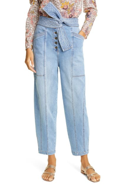 Ulla Johnson OTTO TIE WAIST STRETCH COTTON JEANS