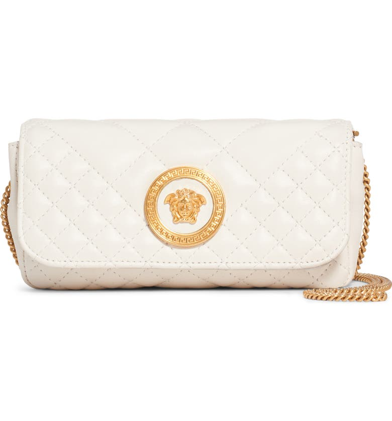 VERSACE Small Tribute Small Quilted Crossbody Bag, Main, color, 900