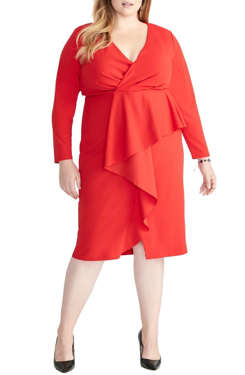 RACHEL RACHEL ROY Ruffle Front Faux Wrap Dress, Main, color, FIRE