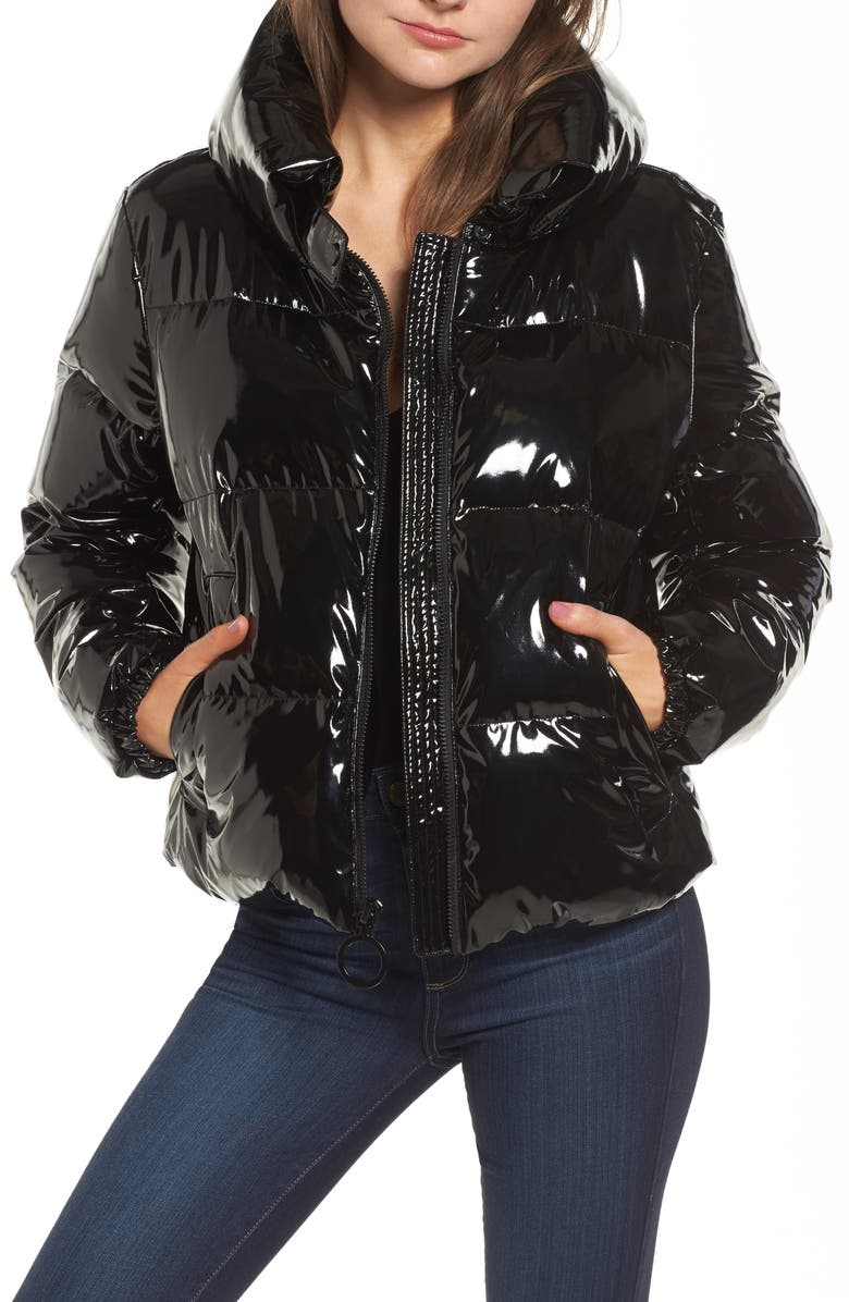 KENDALL + KYLIE Shiny Puffer Jacket, Main, color, 001