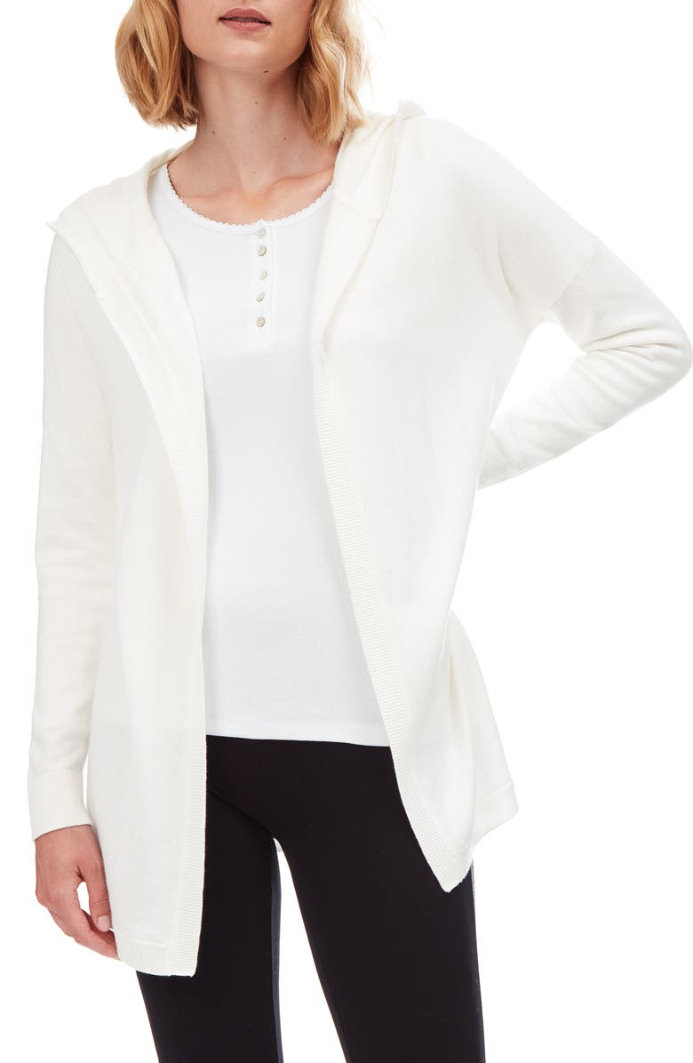 THE WHITE COMPANY Hooded Open Cardigan, Main, color, PORCELAIN