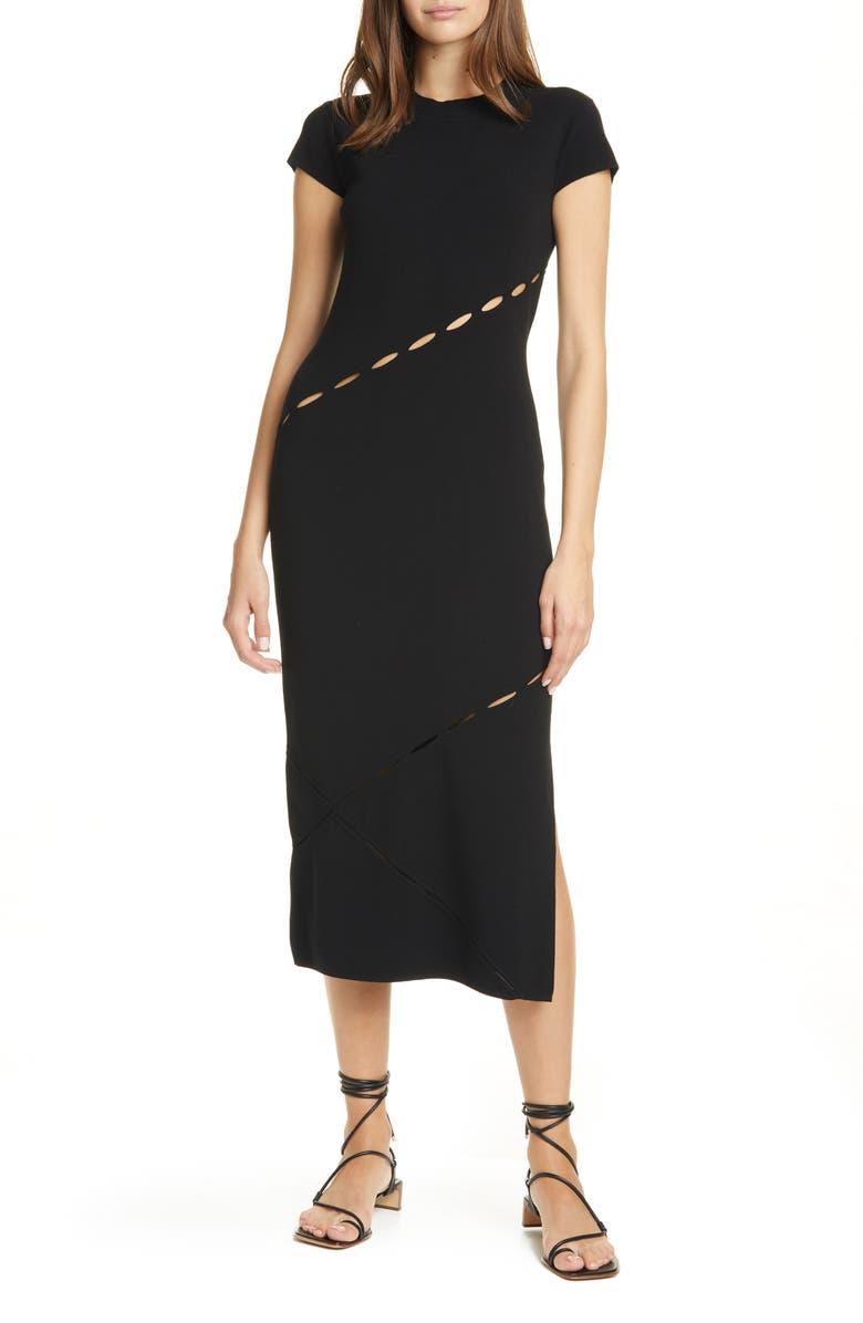 RAG & BONE Eden Slash Detail Midi Dress, Main, color, 001