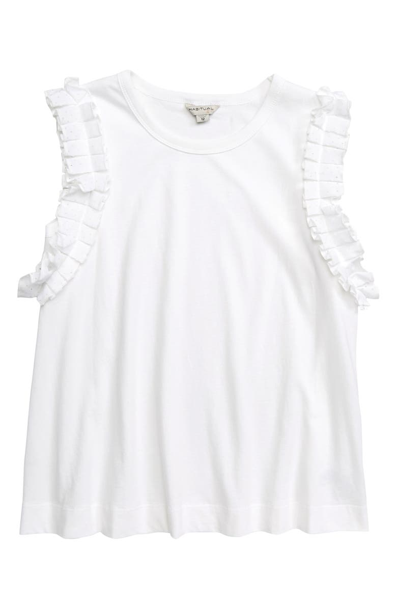 HABITUAL GIRL Graciela Pleat Trim Top, Main, color, WHITE