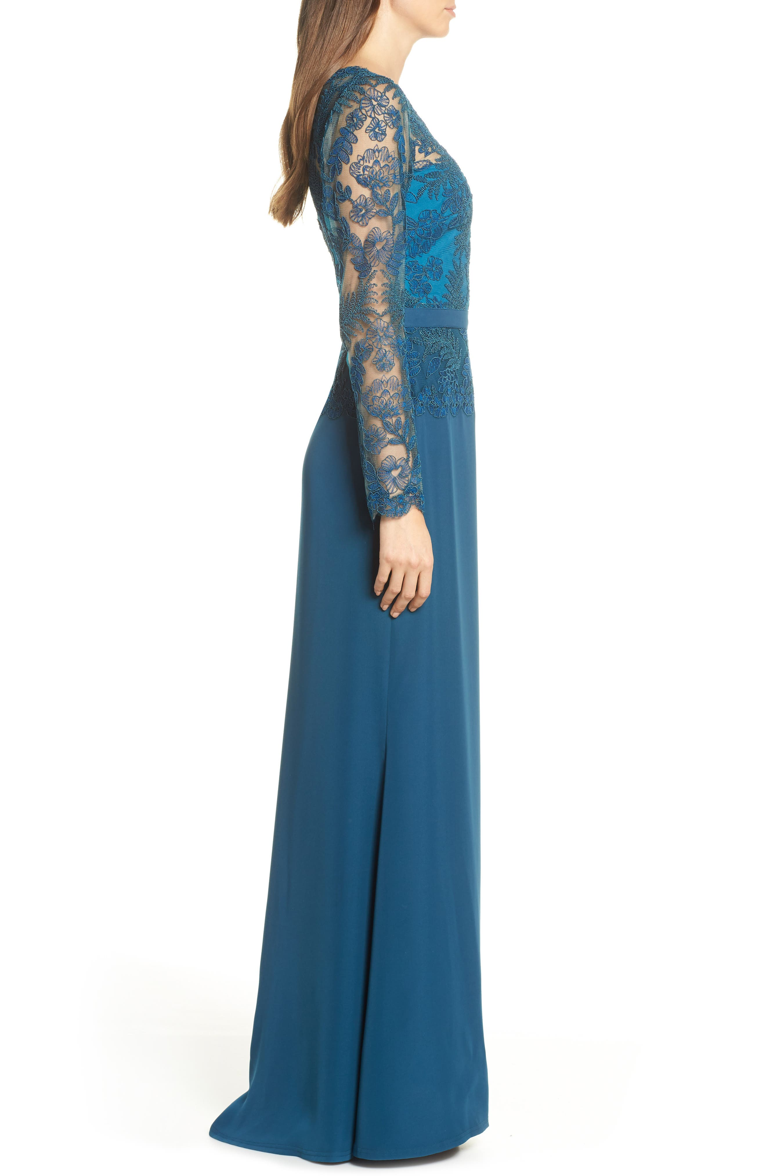 ,                             Lace & Crepe Long Sleeve Evening Gown,                             Alternate thumbnail 4, color,                             CERULEAN