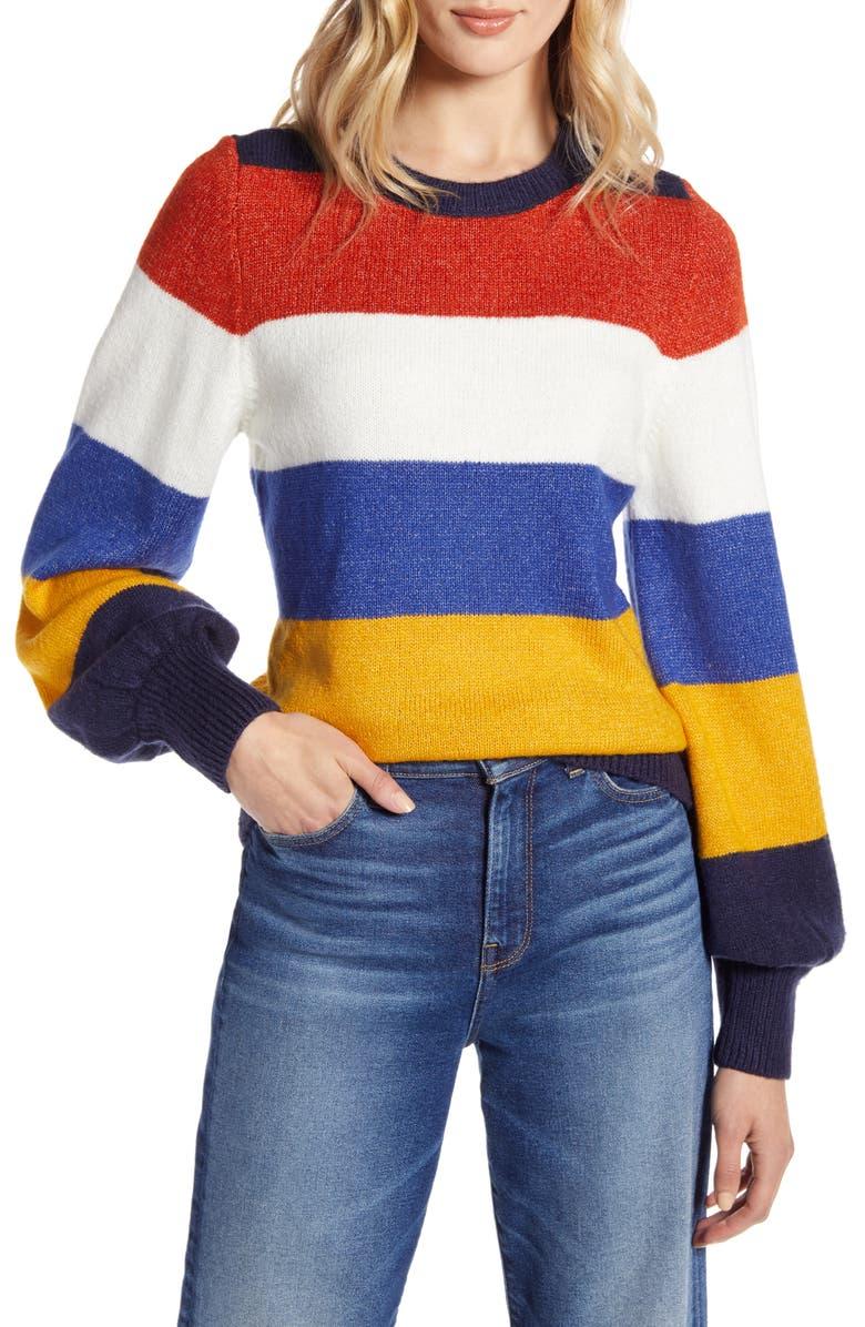 HALOGEN<SUP>®</SUP> Crewneck Sweater, Main, color, RUST MULTI STRIPE
