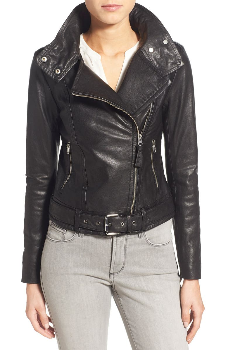 MACKAGE Hania Belted Leather Moto Jacket, Main, color, BLACK