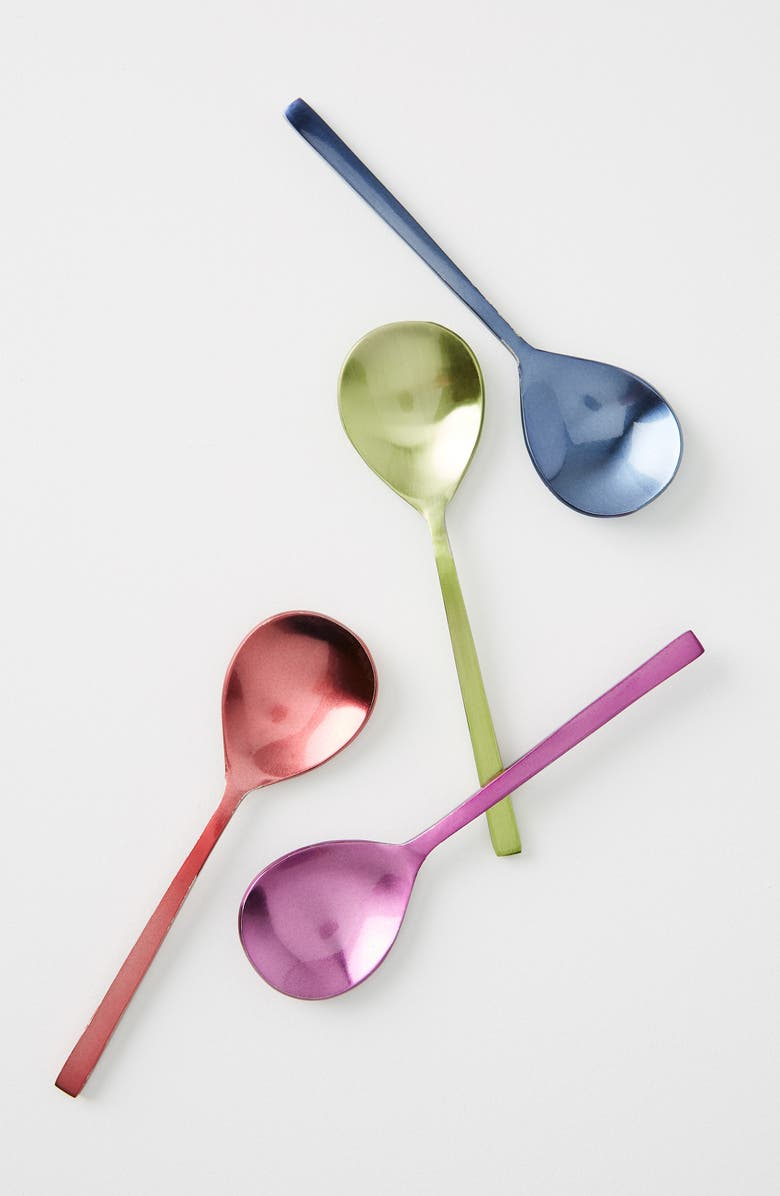 ANTHROPOLOGIE Nora Set of 4 Ice Cream Spoons, Main, color, MULTI