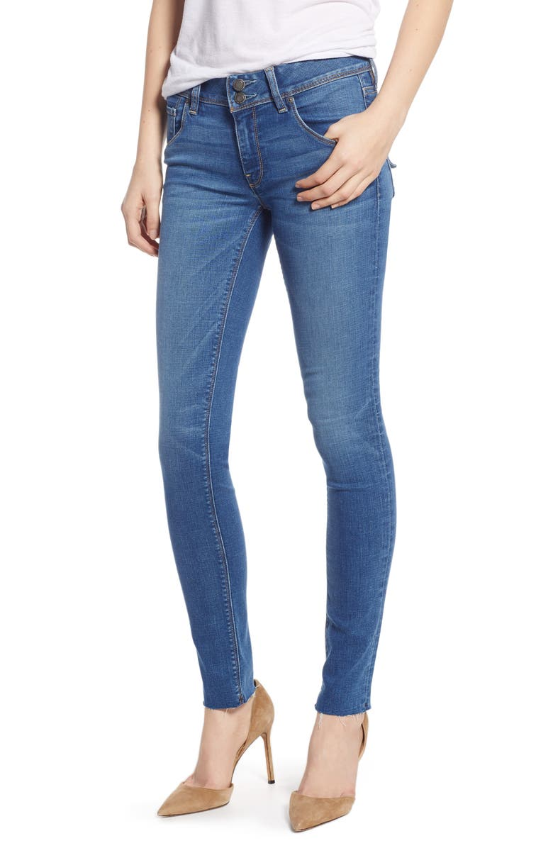 HUDSON JEANS Collin Mid Rise Raw Hem Ankle Skinny Jeans, Main, color, VISION