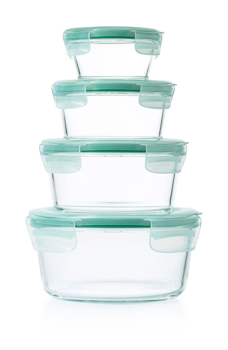 OXO Good Grips 8-Piece Smart Seal Food Storage Container Set, Main, color, CLEAR