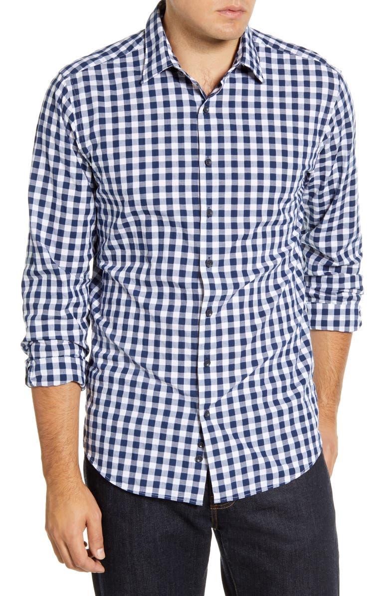 RODD & GUNN Dixon Road Regular Fit Long Sleeve Check Button-Up Shirt, Main, color, NAVY