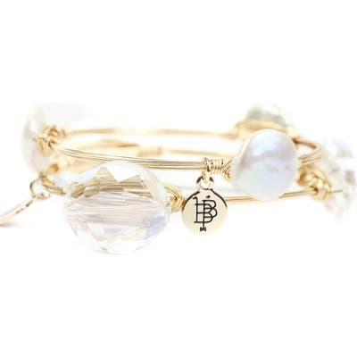 Bourbon And Boweties Cultured Pearl & Crystal Bangle Set