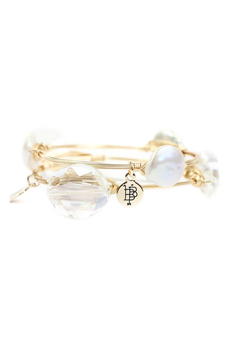 Cultured Pearl & Crystal Bangle Set by Bourbon And Boweties