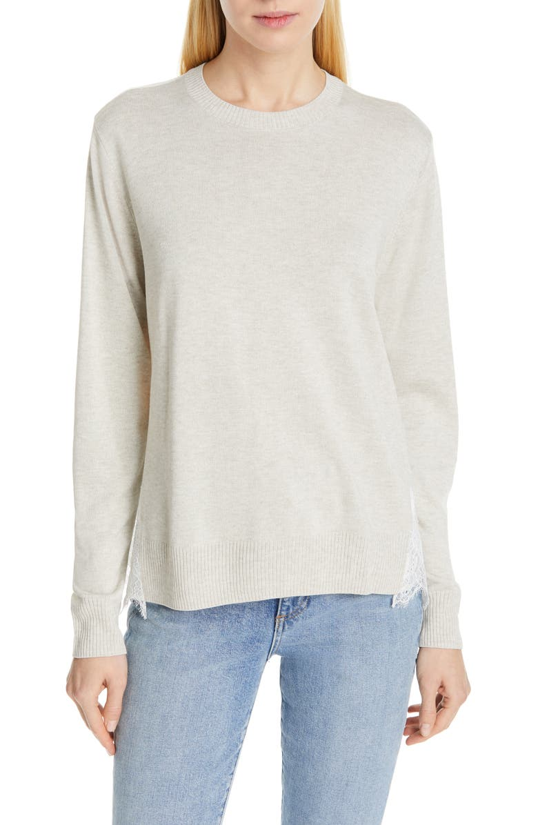 CLU Lace Panel Top, Main, color, BEIGE/ WHITE