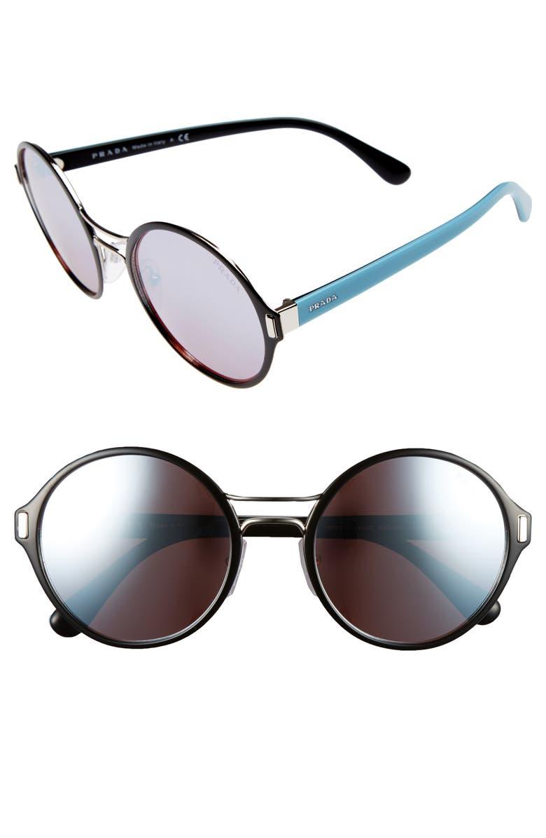 c35c8c3254 Prada 54mm Mirrored Round Sunglasses