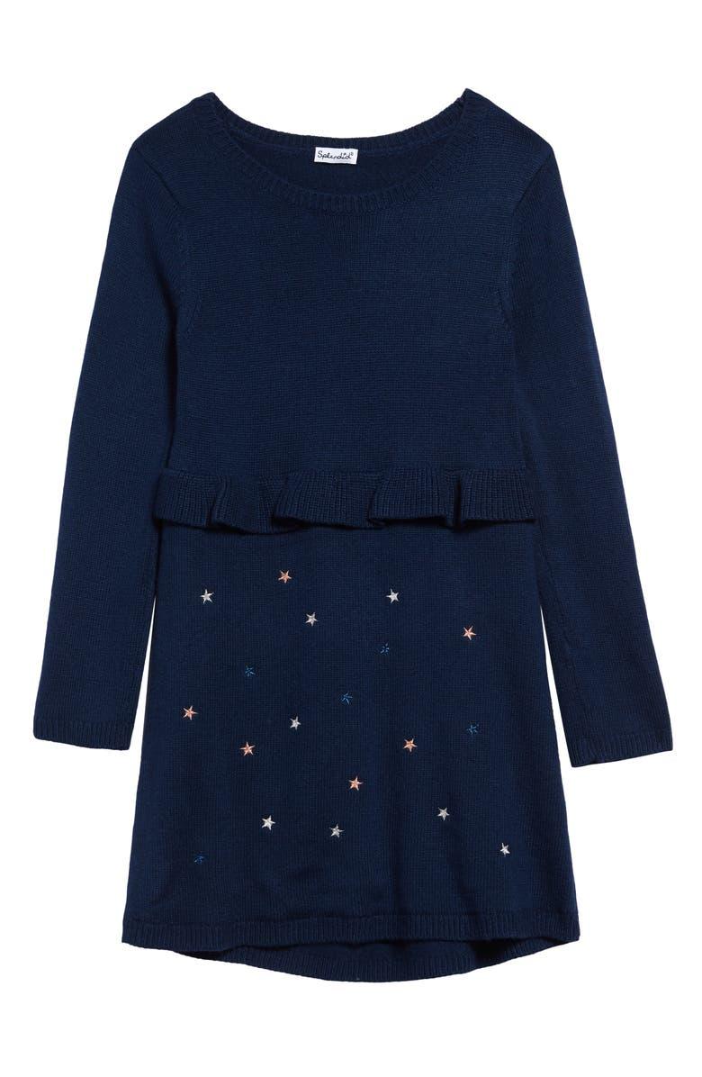 SPLENDID Embroidered Sweater Dress, Main, color, PHANTOM INK