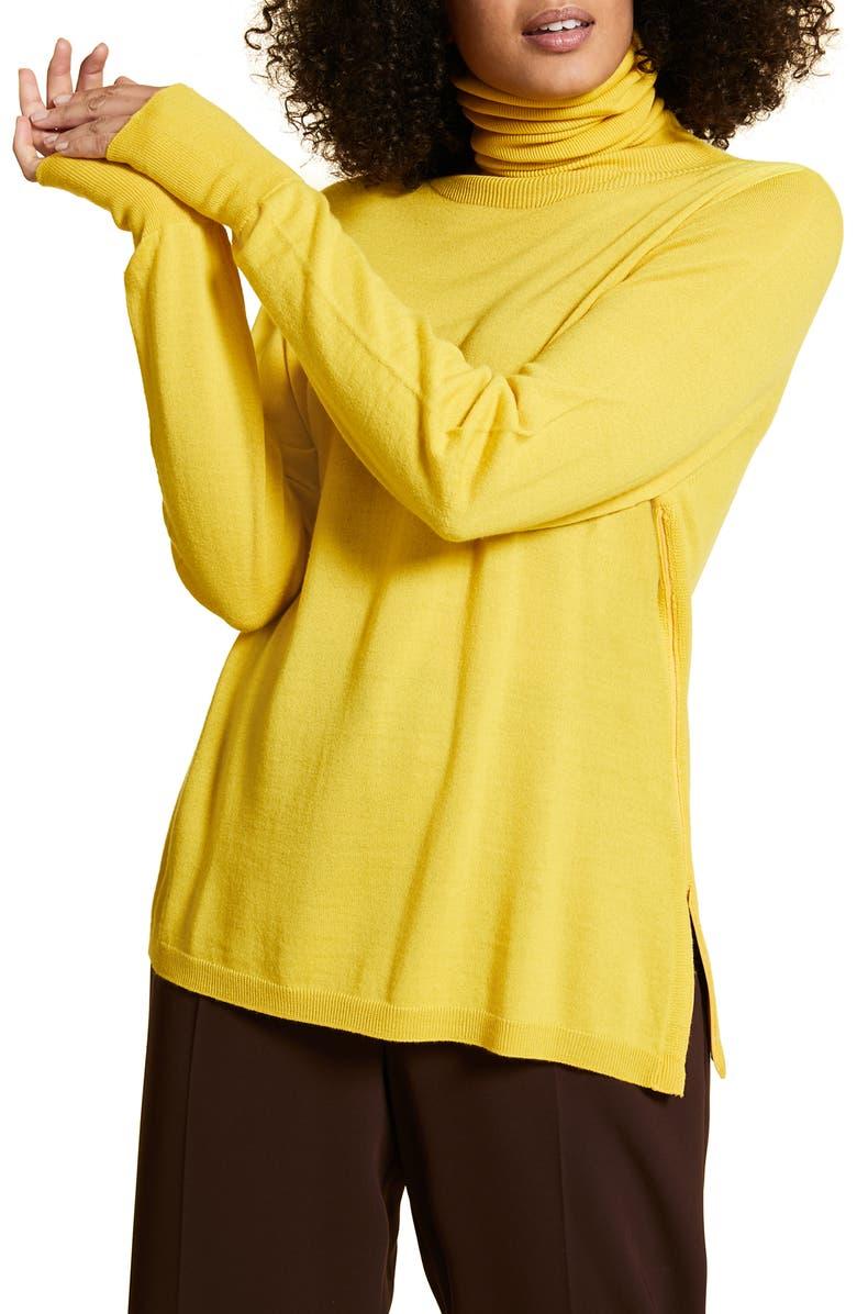 MARINA RINALDI Atletica Wool Blend Convertible Turtleneck Sweater, Main, color, YELLOW