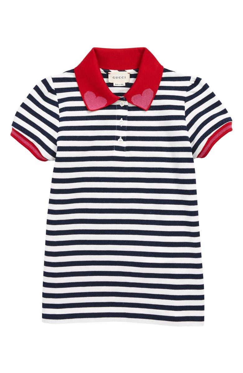 GUCCI Shimmer Stripe Polo, Main, color, MULTI BLUE