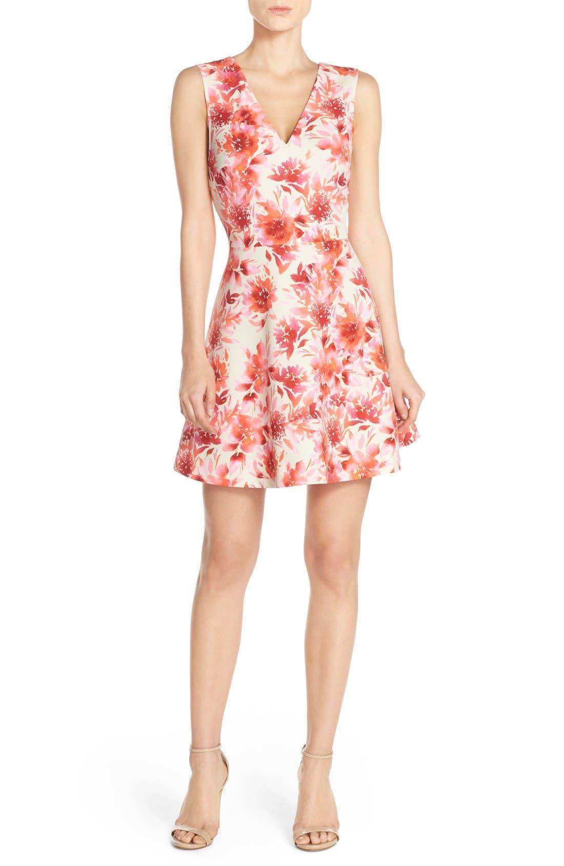 ,                             Bianca Back Cutout Fit & Flare Dress,                             Alternate thumbnail 74, color,                             668