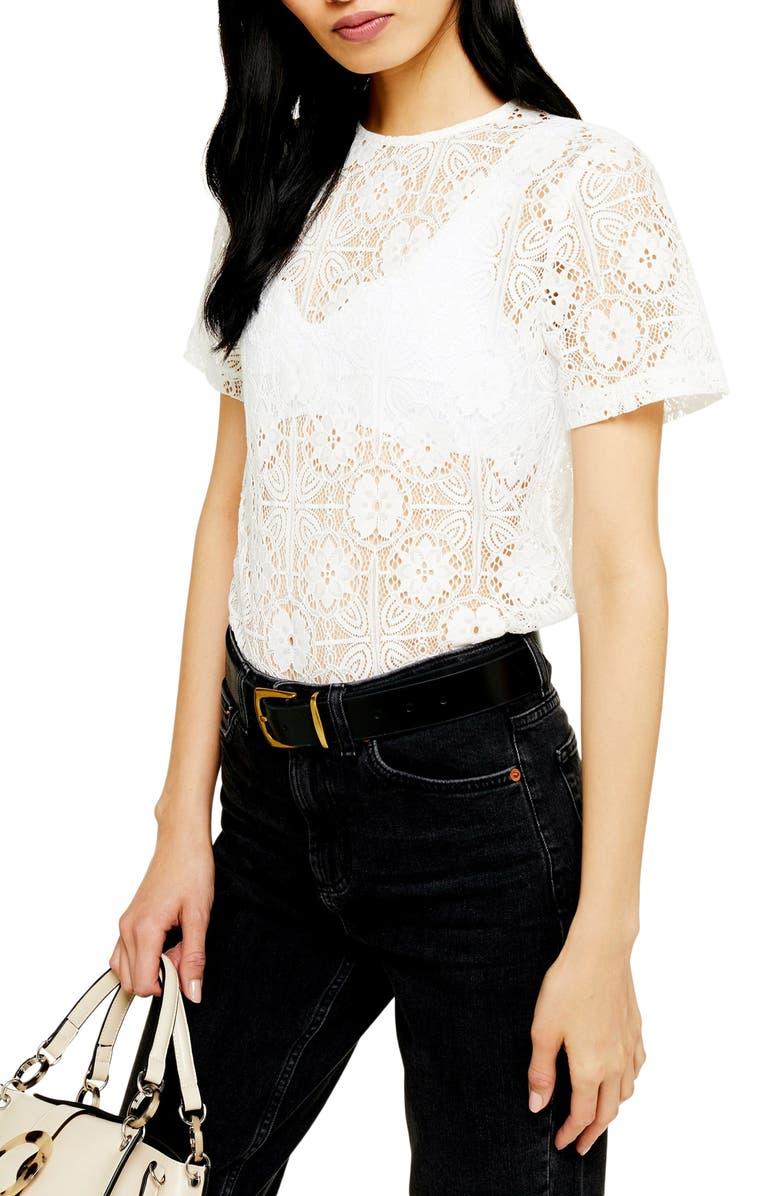 TOPSHOP Lace Top, Main, color, WHITE