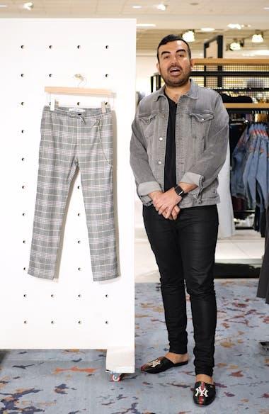 Stretch Skinny Fit Check Jogger Pants, sales video thumbnail