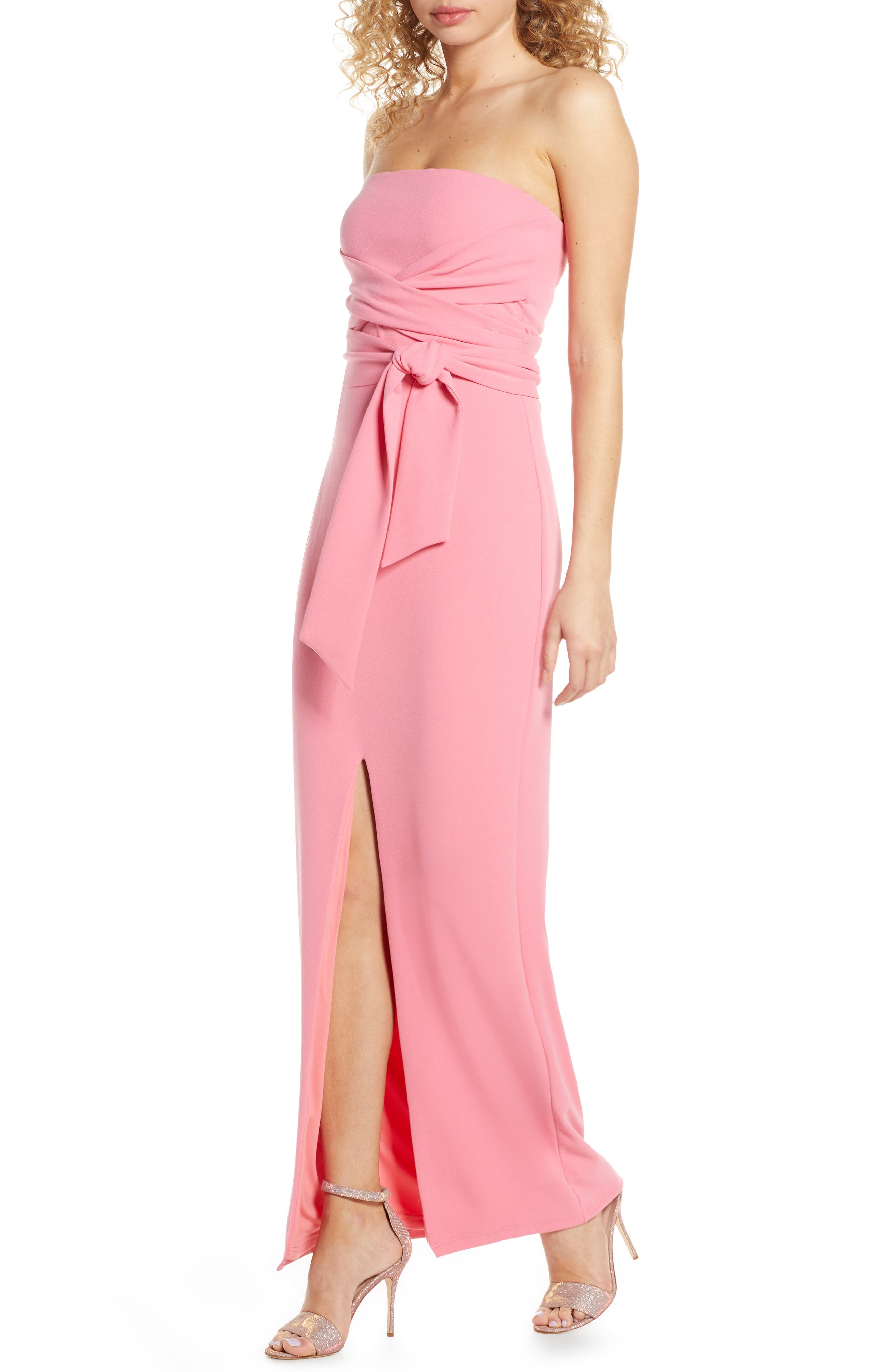 Lulus Own The Night Strapless Maxi Dress, Pink