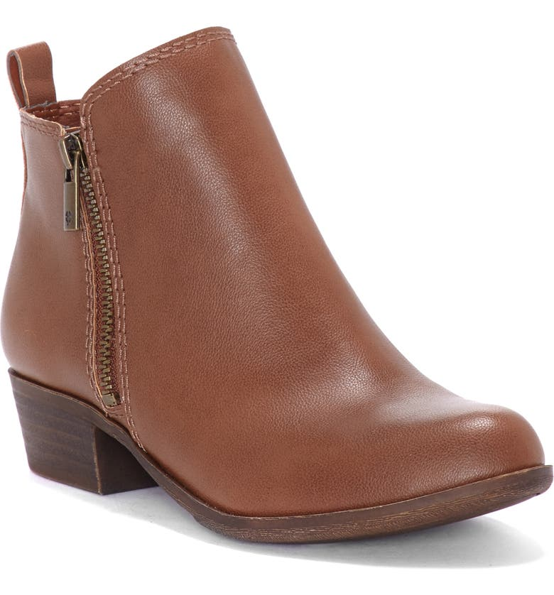 LUCKY BRAND Basel Double-Zip Bootie, Main, color, TOFFEE/ TOFFEE