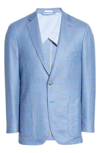 Image of Peter Millar Windowpane Two Button Notch Lapel Wool Blend Blazer